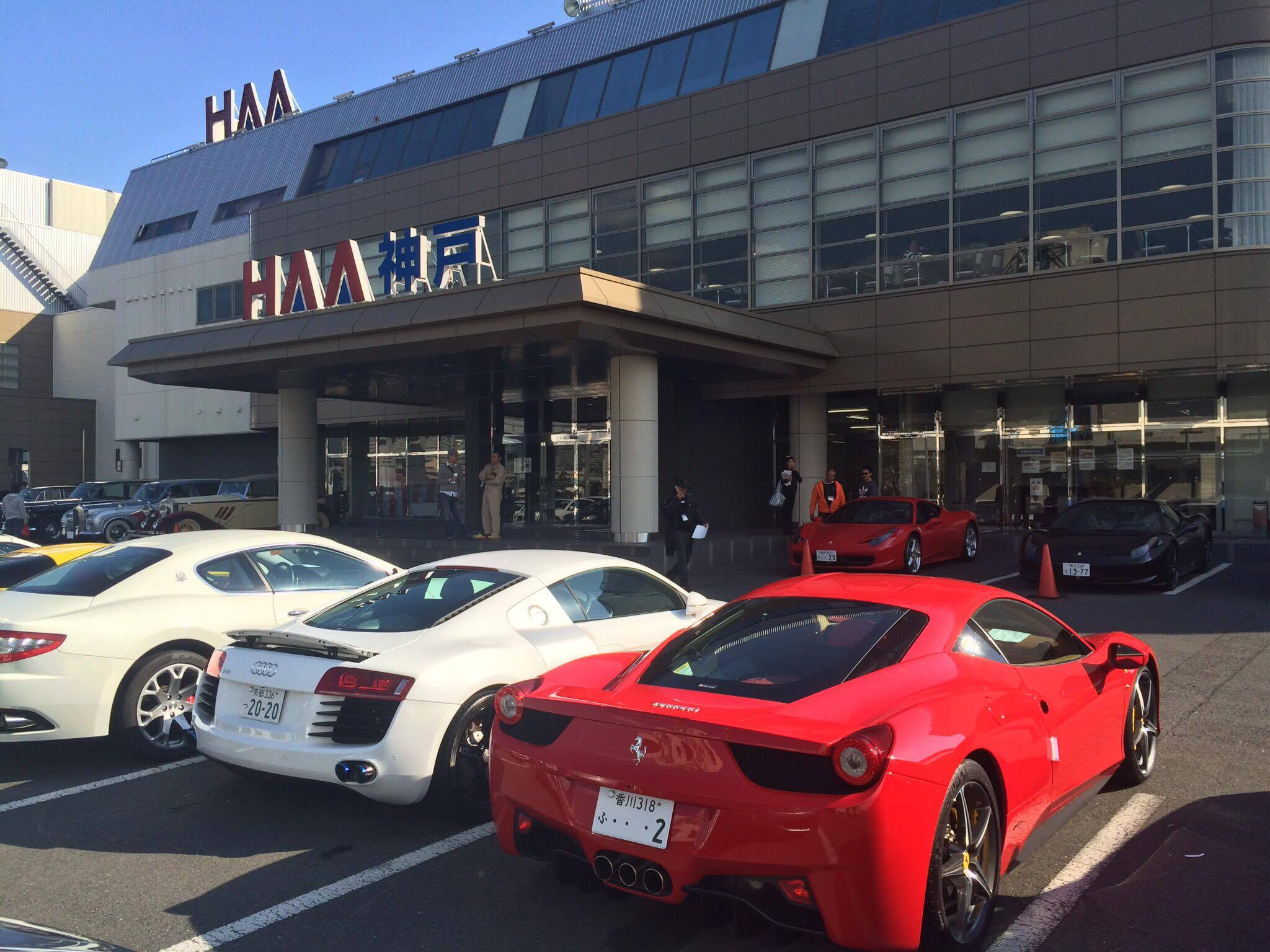 HAA Kobe auction house entrance. All the good stuff is parked out the front.