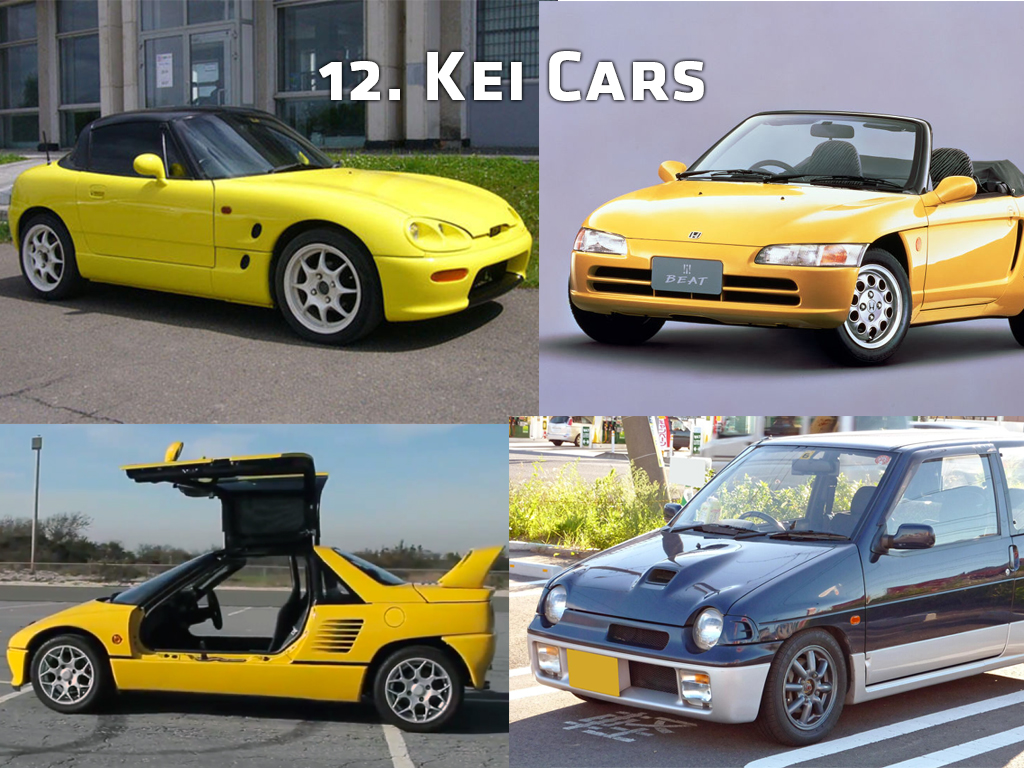 Clockwise from top left: Suzuki Cappuccino, Honda Beat, Suzuki Alto Works RS/R, Autozam AZ-1