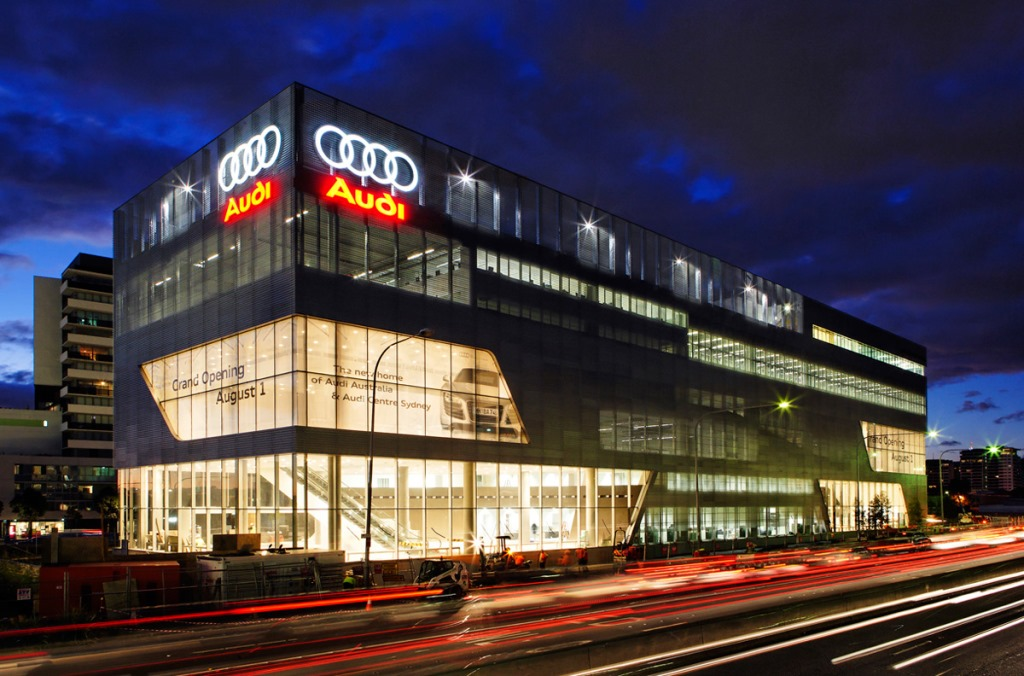Audi's multimillion dollar Sydney dealership, presumably paid for with sunshine and lollipops rather than the massive profits it makes here in Australia.